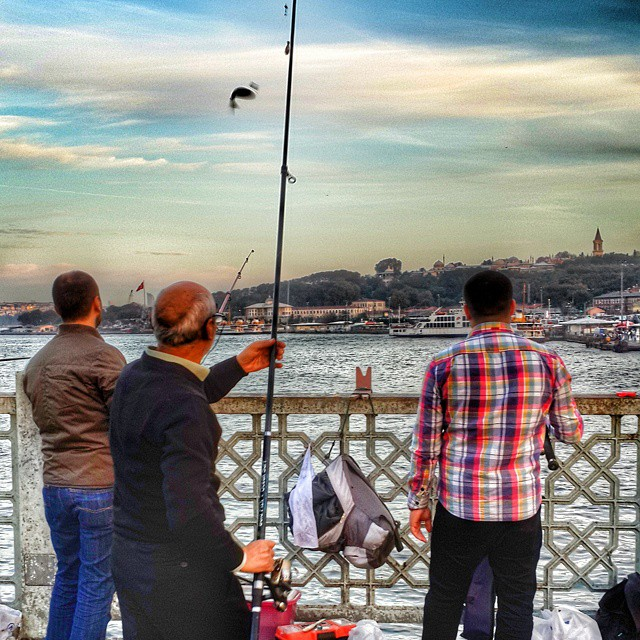 #istanbul #galata #fishing #blue #sunset #people