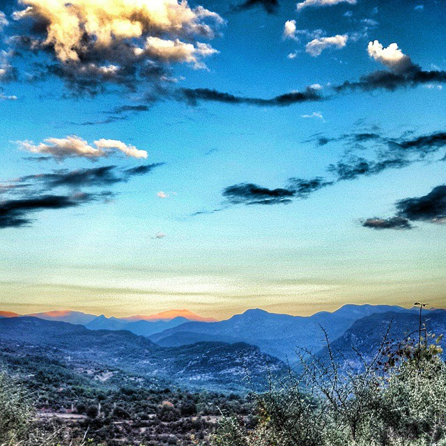 #antalya #mountains #nature #sunset  #sky #cloud #blue #yellow