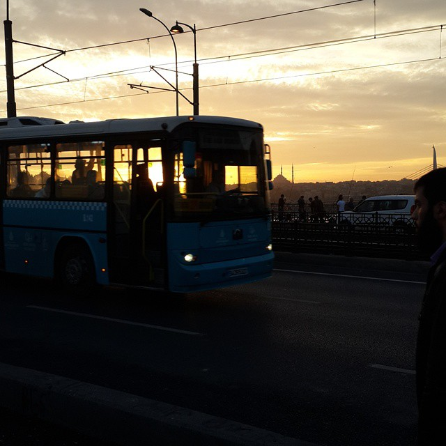#istanbul #nofilter #sunset #yellow #black #bus #galata