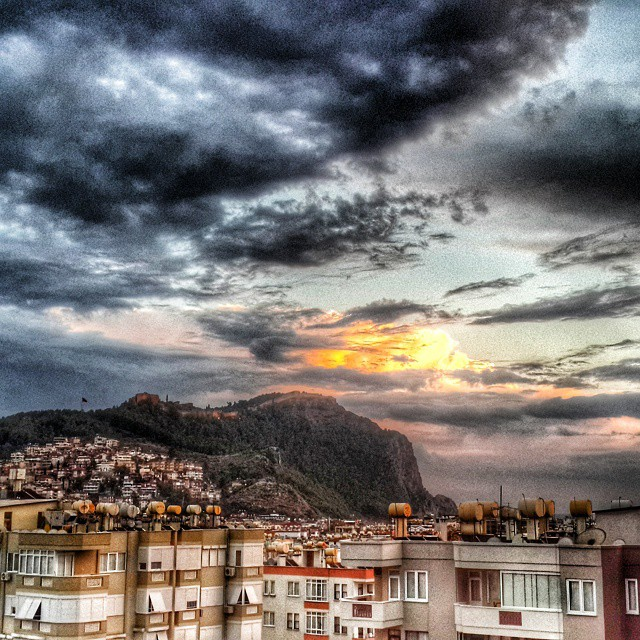 #Alanya #castle #colorful #cloud #yellow #black #turkey #sky #instagood #art