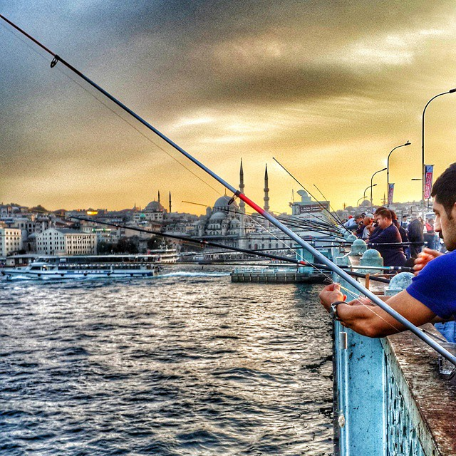 #istanbul #galata #yellow #blue #fishing  #sunset